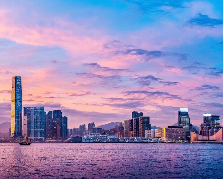 Victoria harbor hong kong sunset