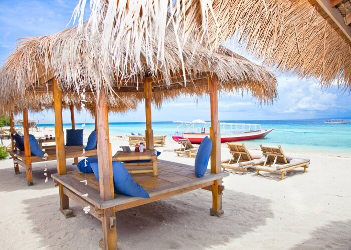 It's easy to relax in one of these cute beach huts on Gili Trawangan's beaches.