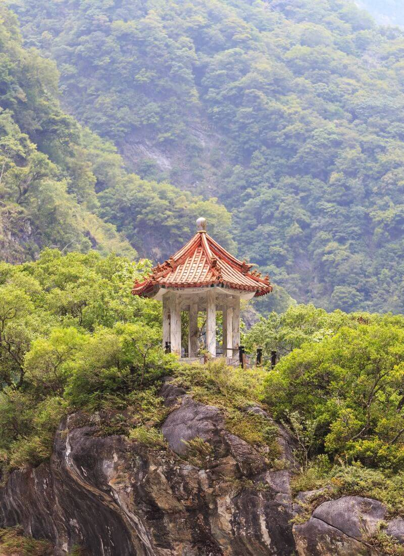 hilltop pagoda at Taroko Gorge national park Hualien Taiwan
