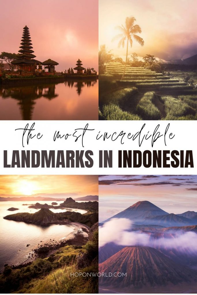 Planning a trip to Indonesia and wondering what to do? Here are 18 INCREDIBLE landmarks of Indonesia that deserve a spot on your travel itinerary! This epic list of Indonesian landmarks includes everything from historical monuments to natural wonders and much more! Indonesia landmarks | places to visit in Indonesia | beautiful places in Indonesia | famous landmarks of indonesia