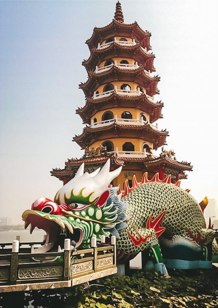 The Dragon and Tiger Pagoda is a popular Kaohsiung tourist attraction.